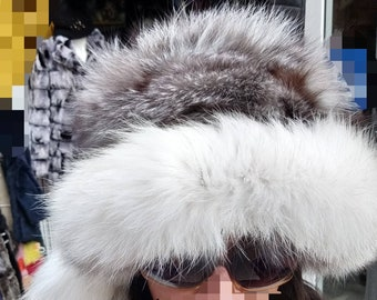 New model!Natural,Real Silver Fox Fur HAT!!!