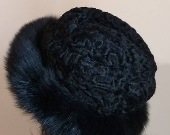 New!Natural,Real Black Astragan Fur HAT with Fox !