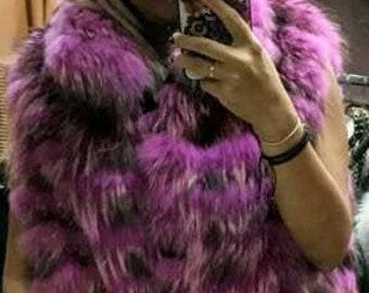 New!Natural Real Fullskin Raccoon Fur Vest!