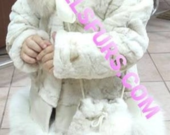 New!GIRL'S Natural Real Mink and Fox Fur coat!