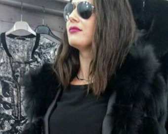 BLACK ELEGANCE!New,Natural, Real Modern Long Hooded Fox Fur Coat!