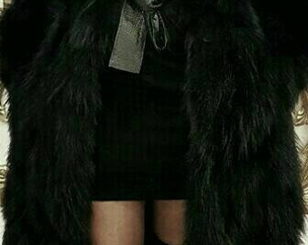 New,Natural Real Beautiful Hooded Black Long Fox Fur Coat !!!