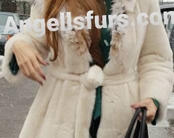 New!Natural Real Superior Quality FULLSKINS PEARL MINK Fur Coat!