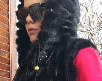 New!Natural Real BLACK Mink Fur and gold color leather vest!