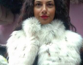 NEW! Natural,Real Cream Fox Fur Vest!