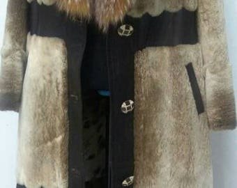 New in!!!Natural Real Beautiful Iceberg color Noutria Long Fur Coat with leather details!
