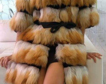 New!Natural Real Modern Red Fox Fur Coat and Vest!