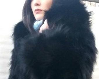 New,Natural, Real Modern Hooded Black LONG HAIR FOX Fur Coat!