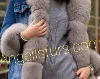 New in! Natural Real Jean jacket with full Fox collars! Order any color fox trims!