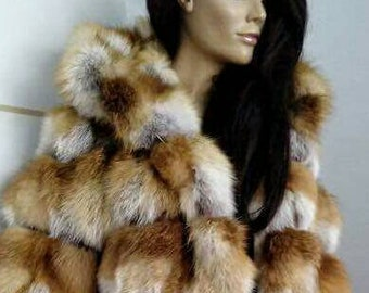 New,Natural Real RED FOX Hooded Fur coat!
