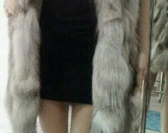 NEW! Natural,Real LONG SILVER Fox Fur Vest!!!