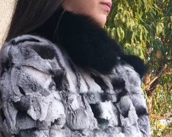 NEW Natural Real REX in chinchilla color Fur coat with Fox collar!