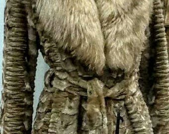 NEW IN! Real Natural sheared Long MINK Fur Coat with Fox Collar!