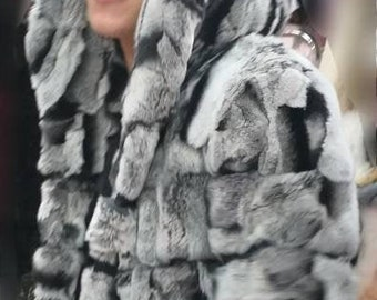 MEN'S New!Real Natural Hooded REX fur coat in chinchilla color!