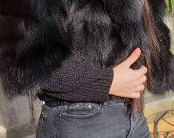 BLACK DREAM HOODED New Real Fox Fur Bolero!
