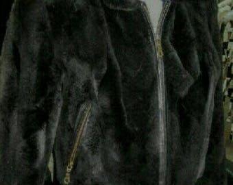 MEN'S New!Real Natural Fullskin BLACK REX Bomber Jacket with zipper!