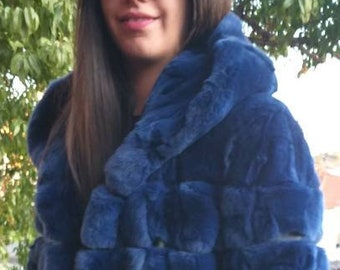 NEW in!Natural Real Royal Blue HOODED REX fur coat!