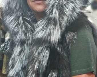 MEN'S New!Real, Natural HOODED Silver Fox VEST!!