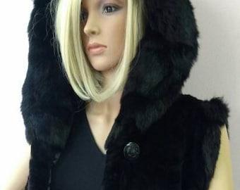New!!!Natural Real Black Hooded sheared MINK Fur vest!