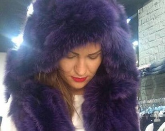New!Natural Real Fox Fur Hooded vest in PURPLE color!