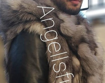 Men'S New!AnD JACKET AnD VEST!Real Natural Hooded Silver Fox Fur with DETACHABLE leather sleeves!