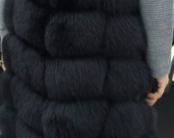 New Natural Real LONG BLACK FOX Fur Vest! Order Any color!