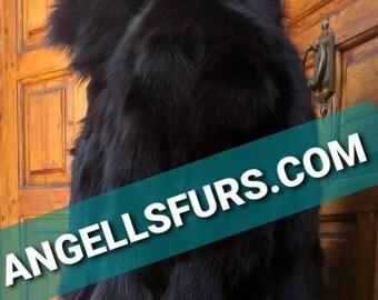 Men's New Real Natural LONG  BLACK FOX Fur Coat!
