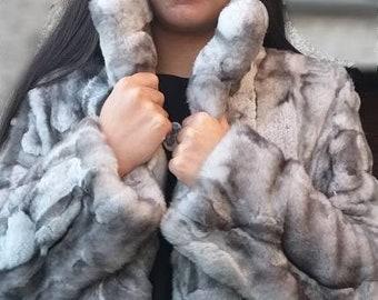 NEW!Natural Real REX  Fur jacket!