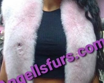 New Natural Real Full pelts PINK FOX Fur Vest!