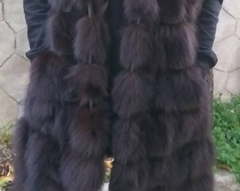 New Natural,Real Brown LONG HOODED FOX Vest with leather straps!