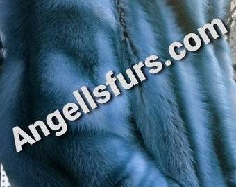 Men'S New Real LIGHT BLUE Silver Frost Fullpets FOX Coat!Order Any Color!