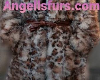 New Natural Real ANIMAL PRINT FOX Fur Coat!Order Any color!