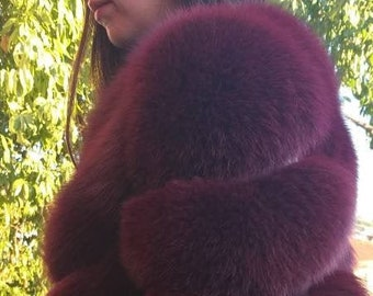 New,Natural Real Full FOX Fur Vest- Jacket in beautiful Wine Bordeaux color! DETACHABLE SLEEVES!