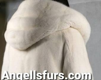 New!Natural Real Superior Quality FULLSKINS Light Pearl Hooded MINK Fur Coat!