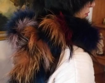 New!!!Natural Real MULTICOLOR Fox Scarves!