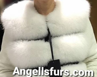 New,Natural,Real Amazing WHITE FULLSKIN FOX Fur Vest!