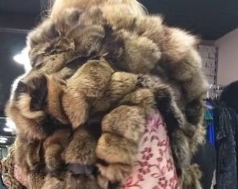 NEW,Natural,Real CAPPUCCINO Colors Long FOX Hooded  Vest with leather straps!