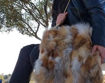 New!Natural,Real RED FOX Fur Bag!