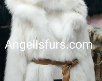 WHITE FLUFFYNESS! New Natural Real LONG Hooded Fox Fur Coat!