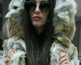 New!Natural Real Hooded Coyote Fur coat!!!