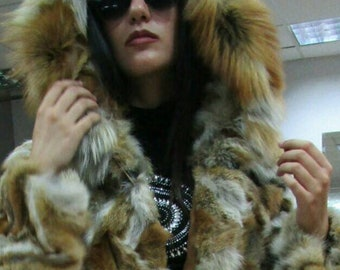 New,Natural Real Hooded Red Fox long fur coat!
