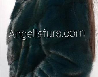 New Natural Real Amazing DARK GREEN Fullskin MINK fur jacket! Order Any color!