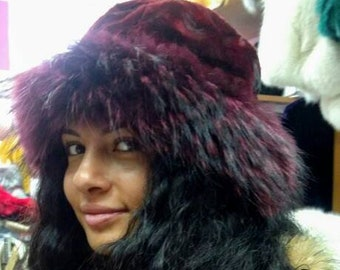 New!Natural,Real BORDEAU MINK Fur HAT with Fox stripe!