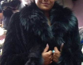 New,Natural Real Beautiful sheared BLACK Mink Fur Coat with Fox collar!