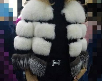 NEW Natural Real Fullpelts FOX  Fur jacket in beautiful combination of colors!