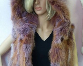 NEW!!! Natural,Real LILAC color Fox Fur Vest!!!