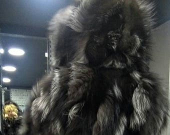 DETACHABLE SLEEVES!New,Natural Real Dark SILVER fox Hooded Fur Coat-Vest!