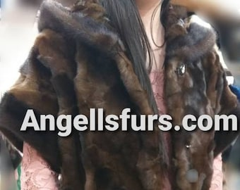 New Modern Natural Real Long Hooded MINK Fur coat-vest!