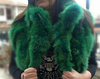 NEW Natural Real Bright GREEN color FOX Fur Vest!