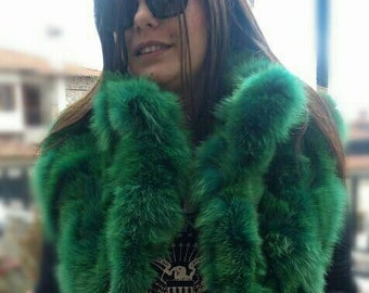 NEW!!! Natural,Real Bright GREEN color Fox Fur Vest!!!